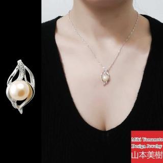 【山本美樹】花樣年華 粉橘淡水珍珠奧地利水晶項鍊(MIT)