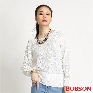 【BOBSON】女款蕾絲網布長袖上衣(米白32083-81)/