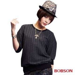 【BOBSON】女款緹織布5分袖上衣(黑33094-88)/