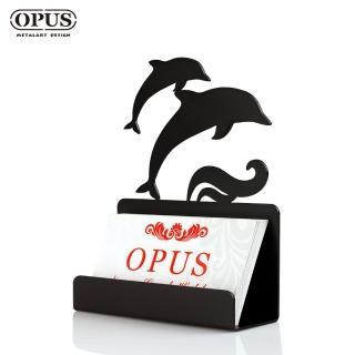 【OPUS東齊金工】歐式鐵藝名片座/高級名片架/會展用品/金屬商務名片盒(CA-de08B 海豚_經典黑)