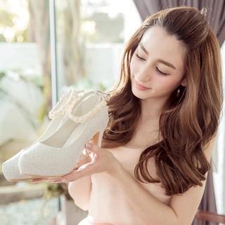 【Ann'S】Bridal幸福婚鞋細膩玫瑰繫帶厚底跟鞋(白)