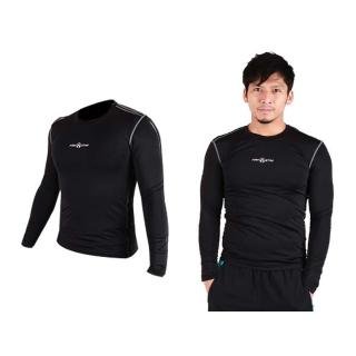 【FIRESTAR】男緊身長袖T恤-慢跑 路跑 運動T恤 黑(N3808-10)