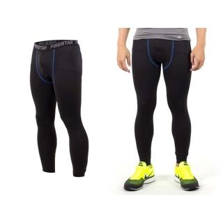 【FIRESTAR】男機能緊身長褲-慢跑 路跑 與NIKE PRO同版型 黑寶藍(N3805-92)