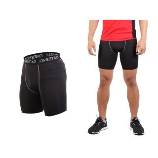 【FIRESTAR】男機能緊身短褲-慢跑 路跑 運動短褲 黑灰(N3802-13)