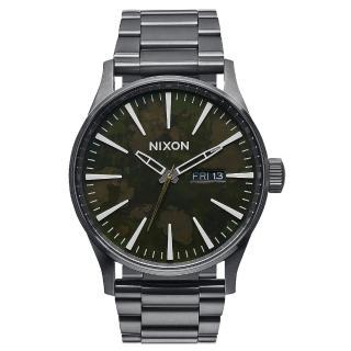 【NIXON】The SENTRY SS 復刻潮流都會休閒腕錶-仿舊x深灰(A3562069)