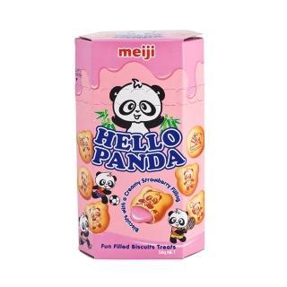 【Meiji 明治】HELLO PANDA 貓熊夾心餅乾-草莓口味50g(夾心餅乾)