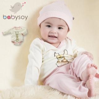 【美國 Babysoy】Janey Baby  有機棉長袖包屁衣606(兔子)