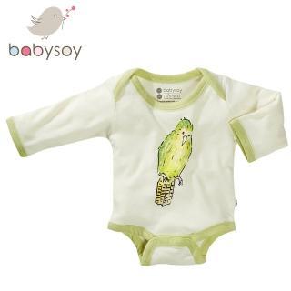 【美國 Babysoy】Janey Baby  有機棉長袖包屁衣606(鸚鵡)