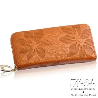 【D.F.Flor Eden】山茶花真皮壓紋款單拉鍊長夾-共6色