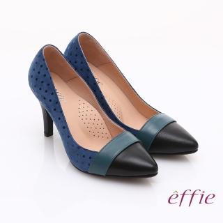【effie】輕透美型 羊皮拼接絨面點點高跟鞋(藍)