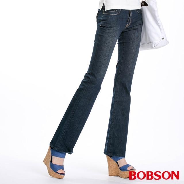 【BOBSON】寬潮作中腰金扣飾小喇叭牛仔褲(型號:9044-52)售完不補