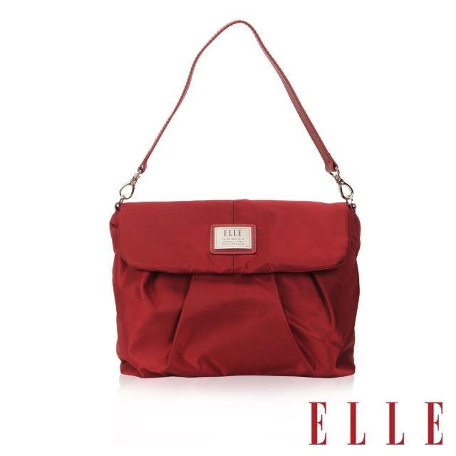 【ELLE】法式優雅時尚風貌百褶側包淑媛 搭配質感頭層皮手提/肩背包(酒紅EL83463B-20)