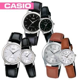 【CASIO 卡西歐】送禮首選_甜蜜浪漫情侶錶_真皮錶帶款(MTP-1095E+LTP-1095E)