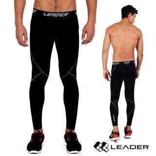 【LEADER】X-PRO梯度壓縮運動緊身褲 男款(黑底灰線)