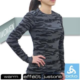 【瑞士 ODLO】限量款 WARM EFFECT 女圓領專業機能型銀離子保暖內衣(191991 黑迷彩)