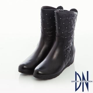 【DN】街頭率性 牛皮菱紋縫線鉚釘內增高短靴(黑)