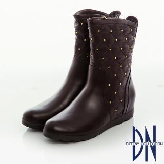 【DN】街頭率性 牛皮菱紋縫線鉚釘內增高短靴(咖)
