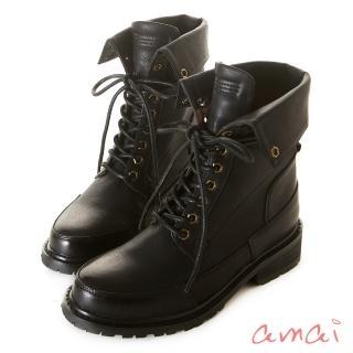 【amai】2WAY 綁帶反折中筒軍靴(黑)