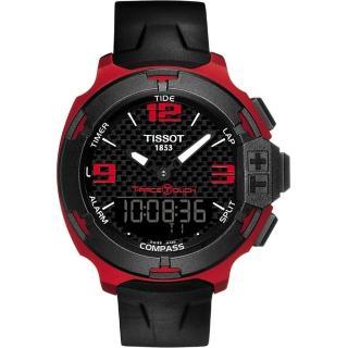 【TISSOT】T-RACE鋁合金碳纖維觸控錶-紅/42mm(T0814209720700)