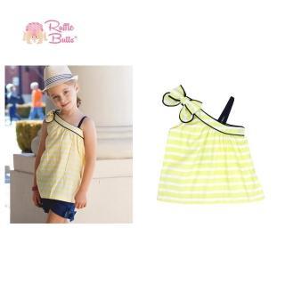 【美國 RuffleButts】小女童上衣 _黃白線條斜肩上衣(RBTT09)