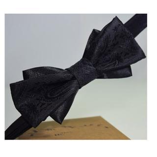 【拉福】變形蟲雙翼領結新郎結婚領結糾糾(黑色)