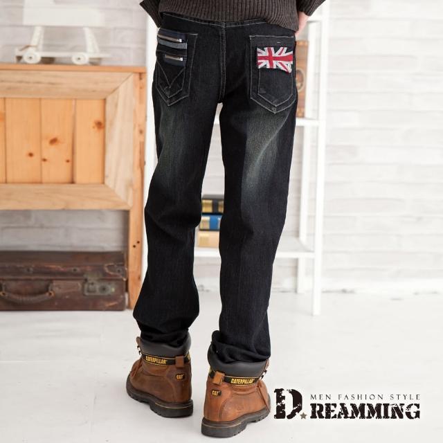 【Dreamming】旗幟造型口袋刷紋中直筒牛仔褲限量搶購