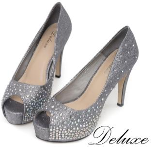 【Deluxe】全真皮閃耀晚宴頂極水鑽魚口高跟鞋(灰)