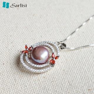 【Sarlisi】愛的漩渦純銀珍珠項鍊(白色、粉色、紫色)