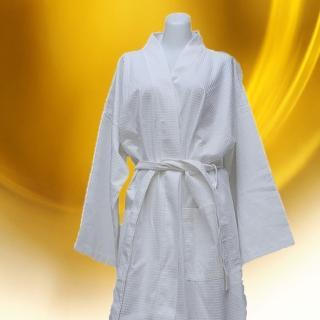 【法式寢飾花季】純品良織-高質感簡約時尚華菱格浴袍