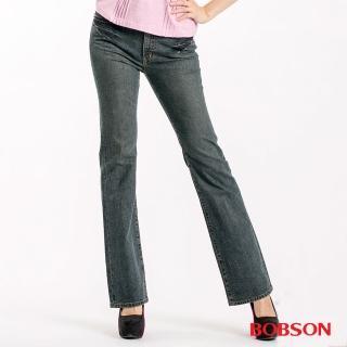 【BOBSON】女款中腰後口袋刺繡喇叭褲(9043-77)