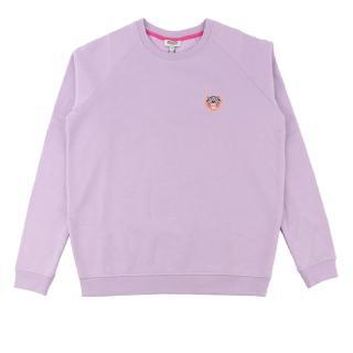 【KENZO】鋪棉小虎頭長袖上衣(粉紫色)