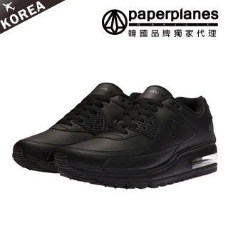 【PAPERPLANES】正韓製/版型正常。男女款舒適氣墊真皮拼接綁帶運動鞋(7-1401黑/現+預)