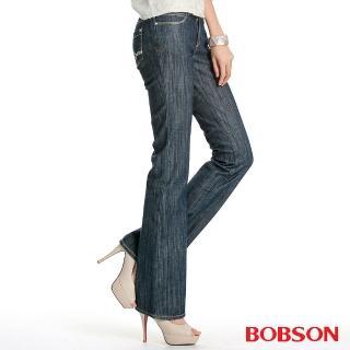 【BOBSON】女款植絨貼合布小喇叭褲(9058-52)