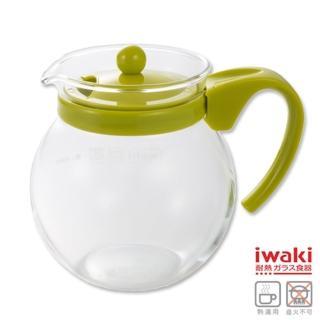 【iwaki】耐熱玻璃茶壺640ml(綠/粉)