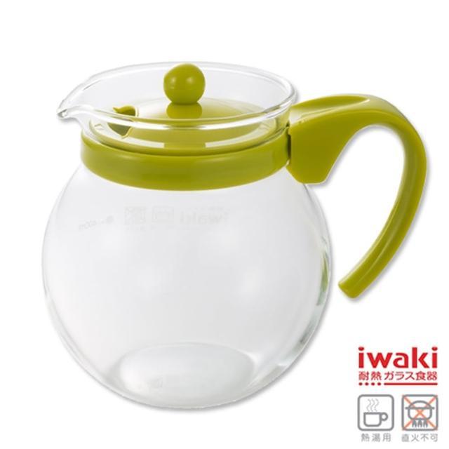 【iwaki】耐熱玻璃茶壺640ml(綠/粉)/
