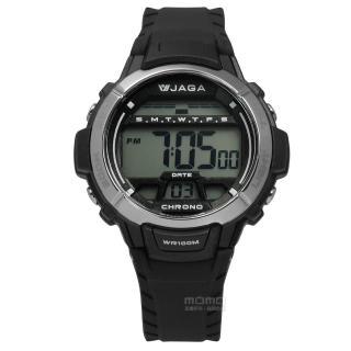 【JAGA 捷卡】酷黑獨立個性電子橡膠腕錶 黑色 38mm(M1048A-A)