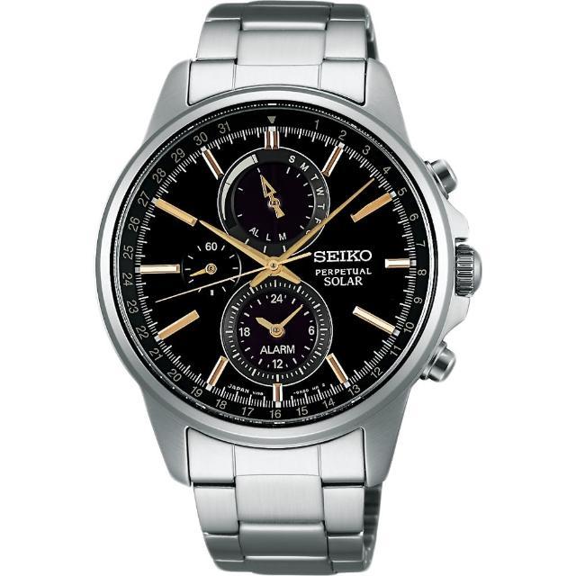 【SEIKO】SPIRIT 太陽能動力儲存計時碼錶-黑x金時標(V198-0AC0K  SBPJ007J)