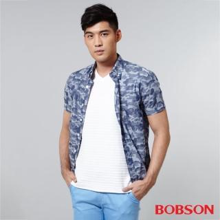 【BOBSON】男款迷彩布襯衫(藍25001-53)