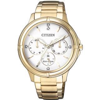 【CITIZEN】星辰 光動能新時代日曆女錶-白x金/38mm(FD2032-55A)