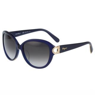 【Salvatore Ferragamo】- 時尚太陽眼鏡(寶藍色)