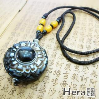 【Hera】天然波斯瓦納精雕五蝠臨門財咒天眼項鍊(獨一無二)