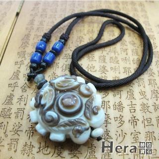 【Hera】天然波斯瓦納精雕雙龍搶珠財字總咒天眼項鍊(獨一無二)