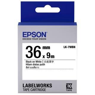 【EPSON】標籤機色帶白底黑字/36mm(LK-7WBN)