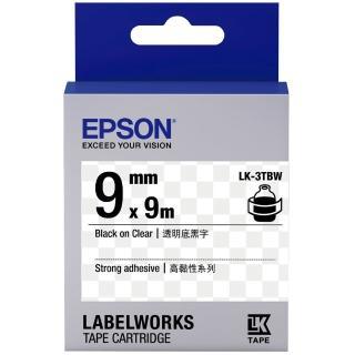 【EPSON】標籤機色帶透明底黑字/9mm(LK-3TBW)