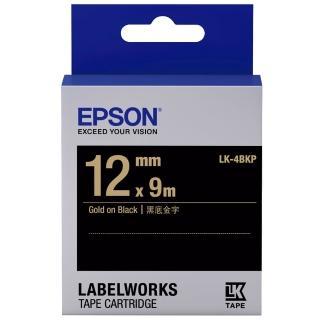 【EPSON】標籤帶 黑底金字/12mm(LK-4BKP)