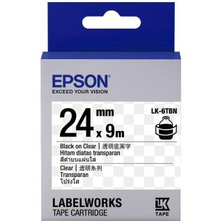 【EPSON】標籤機色帶 透明底黑字/24mm(LK-6TBN)