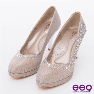 【ee9】心滿益足-驚豔美人進口閃亮斜紋布夢幻亮鑽高跟鞋*米色(跟鞋)