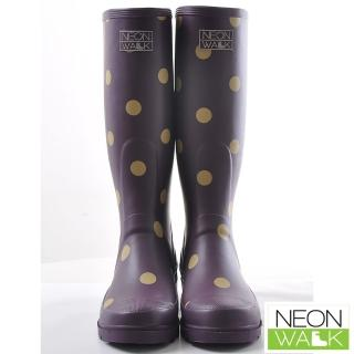【Neon Walk】俏皮甜心點點長筒雨靴 魅力紫色(Neonwalk 長筒雨靴)