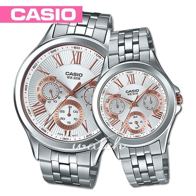 【CASIO 卡西歐】送禮首選_甜蜜浪漫情人_指針型對錶(MTP-E308D+LTP-E308D)
