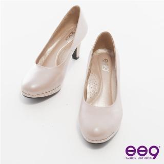 【ee9】心滿益足-全真軟羊皮MIT素面防水台高跟鞋*香檳色(跟鞋)